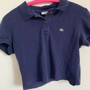 navy blue lacoste cropped tee